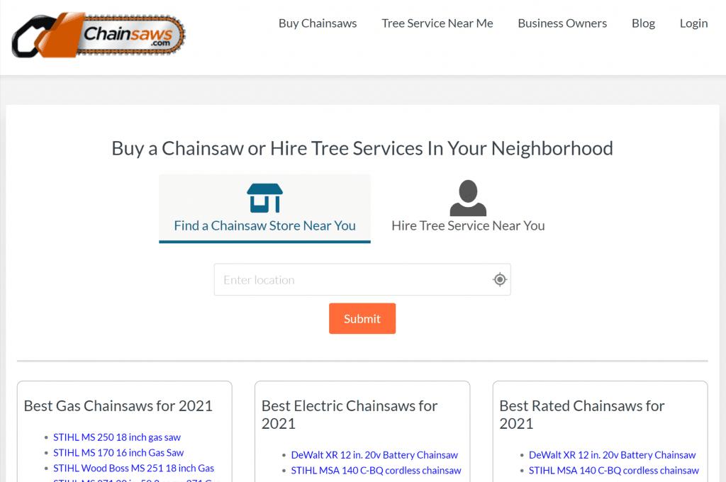 chainsaws.com website